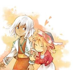 Amir and Gretel from Harvest Moon Grand Bazaar. oooh, so cute! Harvest Moon Grand Bazaar, Harvest Moon Ds, Harvest Games, Trio Of Towns, Rune Factory 4, Farm Games, Cute Posts, Moon Lovers, Kingdom Hearts