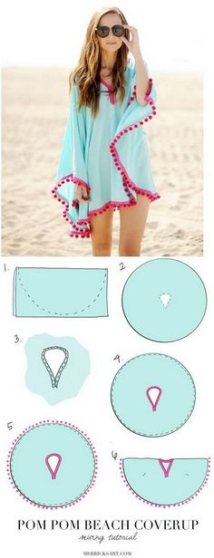 DIY Pom Pom Poncho Beach Cover Up.  Franelon para la playa, fresco, juvenil. otro estilo                                                                                                                                                                                 More
