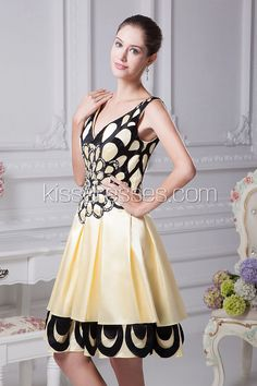 A-line Satin Cocktail Dress with Sequined$100.88
