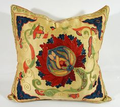 Decorative pillow cover - throw pillow - suzani Pillow - hand embroidered MSP153-6