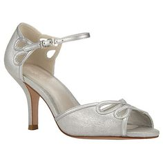 These beautiful bridal shoes are made from genuine suede with a glittering finish for the special day. The shoes features a loop detail on the front and sides, a slim ankle strap and elegant slim heel.