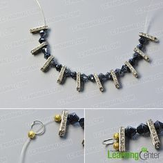 Make the first part of the black leather cord pearl necklace