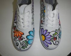 Ladybugs and flowers Handcrafted Doodle Graffiti Sneakers