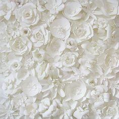 white paper flowers backdrop....wishful thinking
