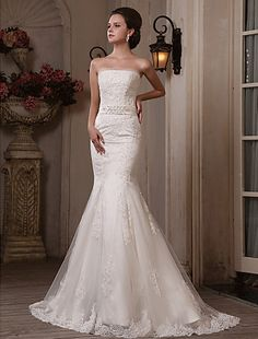 Trumpet/mermaid Straplesssweep/brush Train Tulle Satin Wedding Dress