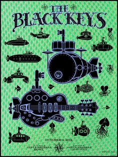 Black Keys Santa Barbara Bowl 2012. Great Music/ Gig poster. Can you spot the Beatles' Yellow Submarine?