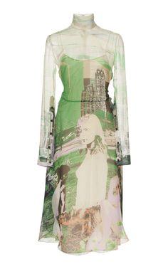 Printed Chiffon Long-Sleeve Dress by Prada Spring/Summer 2019 Runway Fashion, High Fashion, Womens Fashion, London Fashion, Pretty Outfits, Cool Outfits, Facon, Looks Style, Aesthetic Clothes