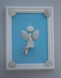 Framed Shell Art Beach Angel Coastal Decor by AngelHeartCreations, Sea Crafts, Rock Crafts, Crafts To Make, Arts And Crafts, Seashell Art, Seashell Crafts, Seashell Frame, Decoration St Valentin, Seashell Projects
