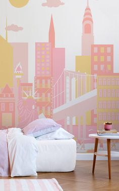 New York | Bring your little explorer's bucket list to life with this toy town City Living Collection. Let your child imagine themselves away to these dream city destinations, running free amidst the playful toy towns of these wonderful murals. #muralswallpaper #mural #citywalls #skyline #kidsbedroom #kidsbedroomdecor #homedecor #kidsroom #newyork