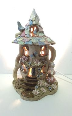 Fairy House Nursery Lamp table lamp bedroom by Sallyamoss on Etsy