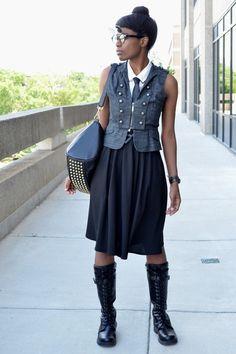 5986456528da black VJ Style bag - black pocket modcloth skirt - gray thrifted vest  Casual Steampunk