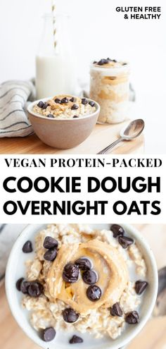 Vegan Protein-Packed Cookie Dough Overnight Oats – Nutrition in the Kitch Overnight Oats With Yogurt, Protein Overnight Oats, Protein Oatmeal, Dairy Free Overnight Oats, Healthy Protein Breakfast, Overnight Oatmeal, Vegan Protein Cookies, Protein Cookie Dough, Cookie Dough Yogurt