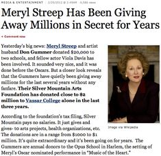 The millions she gives away | 53 Reasons Why Meryl Streep Is The Best