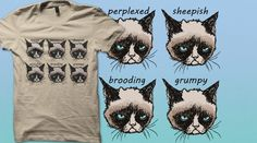 #grumpycat #tshirt Catspressions | Qwertee : Limited Edition Cheap Daily T Shirts | Gone in 24 Hours | T-shirt Only £8/€10/$12 | Cool Graphic Funny Tee Shirts