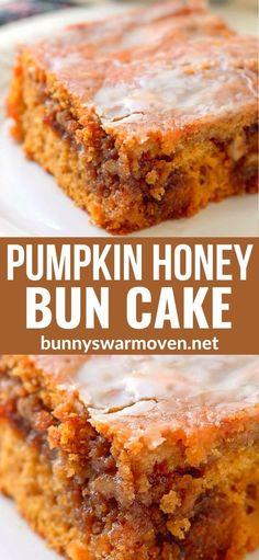 Honey Bun Cake, Honey Buns, Fall Recipes, Sweet Recipes, Holiday Recipes, 13 Desserts, Dessert Recipes, Easy Pumpkin Desserts, Boxed Cake Recipes