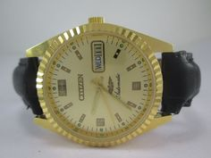 VINTAGE GOLD PLATED CITIZEN AUTOMATIC DAY-DATE 21 JEWELS MENS WRIST WATCH #CITIZEN #Casual