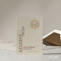 RESERVE | Elum Couture Vol. 3, Letterpress Save The Date | Elum Designs, Letterpress Stationery, Invitations & Curator of Designer Paper Goods. Nothing short of small works of art. Elegant wine label inspired invitations, wine enthusiasts,  effortless coalescence of lavishness and unrefined warmth, metallic dusting and enriched with a tactile cork.
