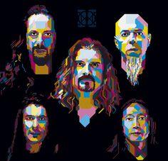 Dream Theater John Petrucci, Dream Theater, Pop Art Portraits, Punk Art, Music Bands, Rolling Stones, Rock N Roll, Heavy Metal, Rock Legends
