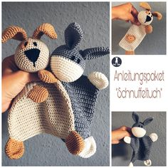 Anleitungspaket Schnuffeltuch Glad to you this article from my shop to be presented: instructi Crochet Toys Patterns, Crochet Motif, Stuffed Toys Patterns, Crochet Crafts, Crochet Baby, Knitting Patterns, Confection Au Crochet, Diy Bebe, Knitted Animals
