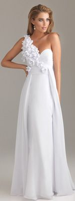 *In Stock & Ready to ShipSALE! 2012 Night Moves by Allure Prom Dresses - White Floral Chiffon One Shoulder Sweetheart Prom Dress - 0 - 18