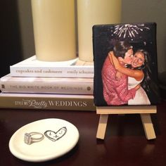 A personalized ring dish or a mini painted canvas of their engagement photo Thoughtful Engagement Gifts, White Books, Painted Canvas, Sentimental Gifts, Ring Dish, Newlyweds, Engagement Photos, Wedding Styles, Style Me