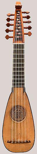 Front of Stradivari mandolin. Choral mandolino, The Cutler-Challen, by Antonio Stradivari, Cremona, 1680.