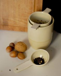 Ceramic strainer and ceramic spoon set for sugar, tea and coffee, handmade spoon and tea strainer Ceramic Spoons, Stoneware Clay, Ceramic Mugs, Mugs Set, Tea Mugs, Tea Strainer, Safe Food, Dinnerware, Ceramics
