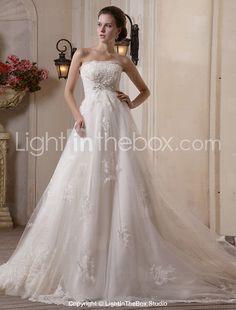 A-line Scalloped-Edge Chapel Train Tulle Satin Wedding Dress-ZZKKO