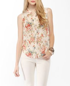 floral top with yoke lace mesh