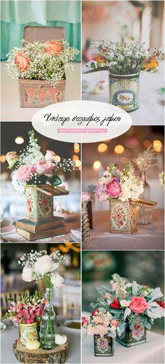 Πολύχρωμες floral παραστάσεις.Αυτά τα μικρά χαριστωμένα τσίγκινα κουτάκια με τις πολύχρωμες floral παραστάσεις δεν πρέπει να λείπουν από το στολισμό κανενός vintage γάμου, όπως βλέπουμε στις φωτογραφίες.