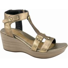 Naot Women's Flirt, Style #: 38012-F01 in Brass | Naot Flirt T strap sandal features leather upper and a leather and lightly padded hook and loop strap at the ankle for a secure fit. Rivet accented detail and gladiator inspired sandal delivers a classic, comfortable and trendy look. | Naot Shoes Available at www.TheShoeMart.com #TheShoeMart