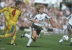 Marco Gabbiadini of Derby (left) out strides Paul Bracewell of Sunderland during… Derby County, Soccer Shirts, Sunderland, Collections, Football, Club, Baseball Cards, Game, Beautiful