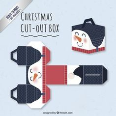 Christmas Snowman Cut-Out Box - with ready to print templates! Check out all the boxes Christmas Gift Box Template, Christmas Templates, Christmas Printables, Christmas Projects, Diy Xmas, Christmas Origami, Christmas Snowman, Christmas Boxes, Paper Toys