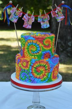 I made this cake for a tie dye birthday party. The cake is tie dye inside as well! I hope to get a good shot of it after it is cut. Bolo Tye Dye, Tye Dye Cake, Tie Dye Cupcakes, Custom Birthday Shirts, Personalized Birthday Shirts, Hippie Birthday Party, Birthday Parties, Cake Birthday, Birthday Ideas