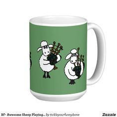 BF- Awesome Sheep Playing Bagpipes Classic White Coffee Mug