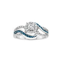Trendy White and Blue Diamond Engagement Ring in K White Fred MeyerDream