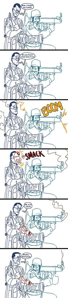 Medic and Soldier - Original Artist Unknown ( Pinned by ) Tf2 Funny, Stupid Funny Memes, Funny Comics, Gamer Humor, Gaming Memes, Team Fortress 2, Video Games Funny, Funny Games, Valve Games