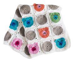 Virkattu peitto nallekuvioilla - tee vaunupeitto vauvalle tai vaikkapa sängynpeitto lastenhuoneeseen.