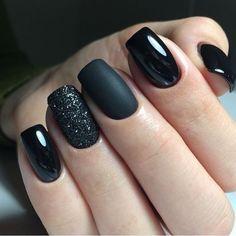 matte black and sparkle nails - sparkle matte nails . matte and sparkle nails . matte nails with sparkle . matte black and sparkle nails . Black Nail Designs, Acrylic Nail Designs, Nail Art Designs, Nails Design, Short Nail Designs, Cute Nail Polish, Cute Acrylic Nails, Glitter Nail Polish, Stylish Nails