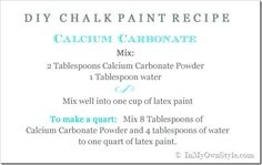 DIY Chalk Paint Recipe using Calcium Carbonate Powder