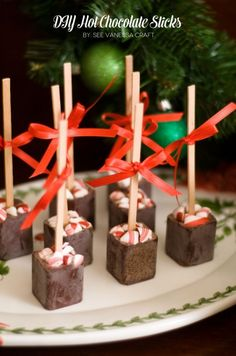 Hot Chocolate Sticks. These are the cutest hot chocolate stirrers I've seen and they're  easy to make. They would make a great gift with a jar of homemade hot chocolate  mix.