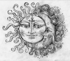 moon sun and star tattoos - Google Search