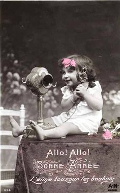 Vintage Postcard ~ Little Girl on Phone