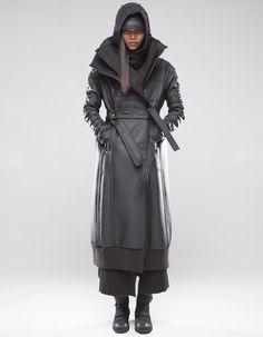Cyberpunk Clothes, Cyberpunk Fashion, Long Wool Coat, Female Clothing, Futurism, Brown Fashion, Third Eye, Panther, Fashion Show