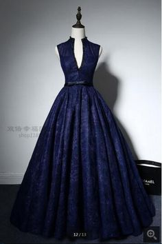 navy blue ball gown high neck lace prom