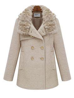 Faux Fur Collar British Style Tweed Overcoat