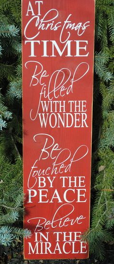 "At Christmas Time Vinyl Wooden Subway Art Sign 10"" x 36"".  Beautiful decoration to enjoy the holiday season with by HD Vinyl Designs."