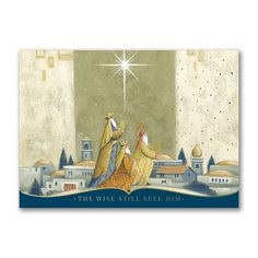 The Offertory - This striking card shows the three wise men are guided by the Christmas Star as they travel to Jerusalem to see baby Jesus. Send warm wishes with this religious card.