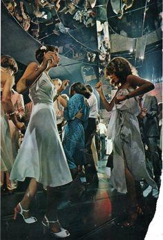 disco 70s studio 54 dance dresses white blue photo print ad color