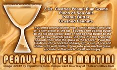 Tomorrow, January 24th is National Peanut Butter Day>> PEANUT BUTTER MARTINI - click the image for more peanutty info and the free, full sized recipe card!